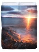 Midnight Sun Over Vågsfjorden Duvet Cover by Arild Heitmann