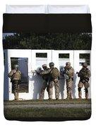 Military Reserve Members Prepare Duvet Cover by Michael Wood