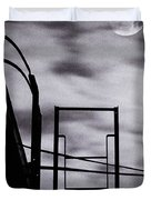 moon over brooklyn rooftop Duvet Cover by Gary Heller