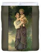 Mother And Child Duvet Cover by William Adolphe Bouguereau