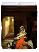 Mother Nursing Her Child Duvet Cover by  Pieter de Hooch
