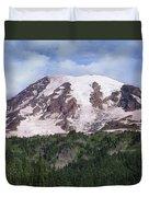 Mount Rainier With Coniferous Forest Duvet Cover by Tim Fitzharris