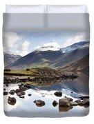 Mountains And Lake At Lake District Duvet Cover by John Short