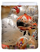 Mouth-blown Hand Painted Christmas Ornaments Duvet Cover by Christine Till