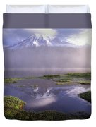 Mt Rainier An Active Volcano Encased Duvet Cover by Tim Fitzharris