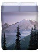 Mt Rainier As Seen At Sunrise Mt Duvet Cover by Tim Fitzharris