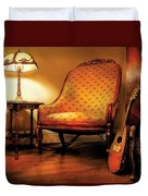 Music - String - The Chair And The Lute Duvet Cover by Mike Savad