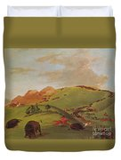 Native American Indians, Buffalo Chase Duvet Cover by Photo Researchers