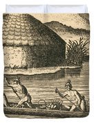 Native Americans Transporting Crops Duvet Cover by Photo Researchers