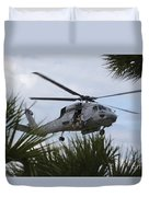 Navy Seals Look Out The Helicopter Door Duvet Cover by Michael Wood