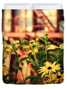 New York City Flowers Along The High Line Park Duvet Cover by Vivienne Gucwa