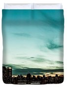 New Yorks skyline at night ice 1 Duvet Cover by Hannes Cmarits