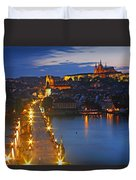 Night Lights Of Charles Bridge Or Duvet Cover by Trish Punch