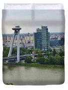 Novy Most Bridge - Bratislava Duvet Cover by Jon Berghoff