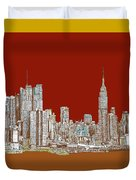 Nyc Red Sepia  Duvet Cover by Adendorff Design