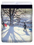obogganers near Youlegrave Duvet Cover by Andrew Macara