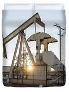 Oil Derrick Duvet Cover by Mike Raabe
