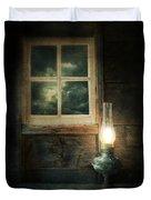 Oil Lamp On Table By Window Duvet Cover by Jill Battaglia