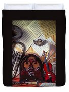 Old Radio And Music Instruments Duvet Cover by Garry Gay
