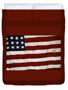 Old Usa Flag Duvet Cover by Carlos Caetano