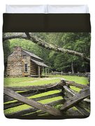 Oliver Cabin In Cade's Cove Duvet Cover by Randall Nyhof