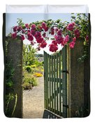 Open Garden Gate With Roses Duvet Cover by Elena Elisseeva