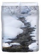 Open Running Creek With Snow Covered Duvet Cover by Michael Interisano