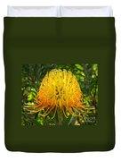 Orange Protea Flower Art Duvet Cover by Rebecca Margraf
