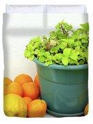 Oranges and Vase Duvet Cover by Carlos Caetano