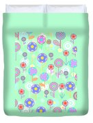 Overlayer Flowers  Duvet Cover by Louisa Knight