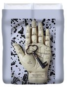 Palm Reading Hand And Key Duvet Cover by Garry Gay