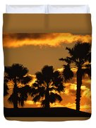 Palm Trees In Sunrise Duvet Cover by Susanne Van Hulst
