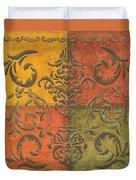 Paprika Scroll Duvet Cover by Debbie DeWitt
