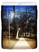 Park Path At Night Duvet Cover by Elena Elisseeva