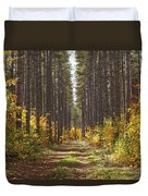 Path Into The Forest In Autumn Sault Duvet Cover by Susan Dykstra