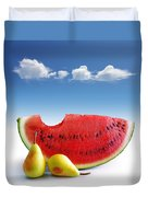Pears And Melon Duvet Cover by Carlos Caetano