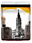 Philadelphia Poster Duvet Cover by Bill Cannon