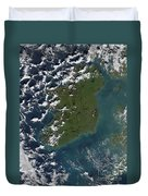 Phytoplankton Bloom Off The Coast Duvet Cover by Stocktrek Images