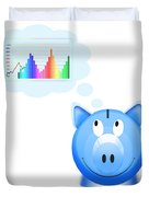 Piggy Bank With Graph Duvet Cover by Setsiri Silapasuwanchai