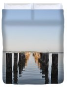 Pilings From An Old Pier Duvet Cover by Bill Cannon