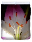 Pink And White Lily Duvet Cover by David Patterson