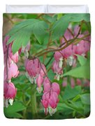 Pink Bleeding Heart Flowers - Dicentra Spectabilis Duvet Cover by Mother Nature