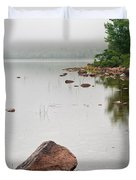 Pink Granite In Jordan Pond at Acadia Duvet Cover by Steve Gadomski