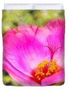 Pink Portulaca Duvet Cover by Judi Bagwell