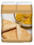 Pita Bread With Brocoli Cheese Dip Duvet Cover by Andee Design