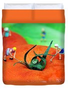 Planting On Tomato Field Duvet Cover by Paul Ge