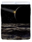 Pluto Seen From The Surface Duvet Cover by Ron Miller