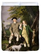 Portrait Of A Sportsman With His Son Duvet Cover by Francis Wheatley