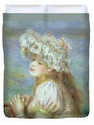 Portrait Of A Young Woman In A Lace Hat Duvet Cover by Pierre Auguste  Renoir