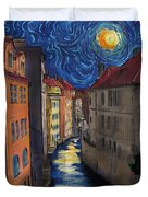 Prague By Moonlight Duvet Cover by Jo-Anne Gazo-McKim